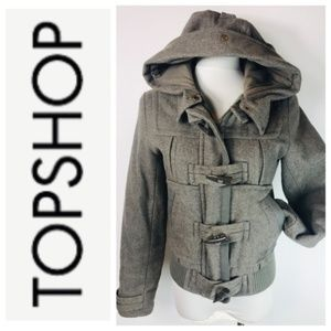 Topshop Taupe Gray Hooded Toggle Bomber Coat